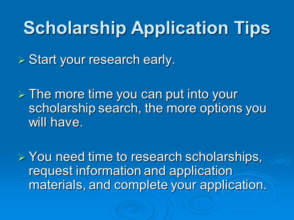 Scholarship Application Tips