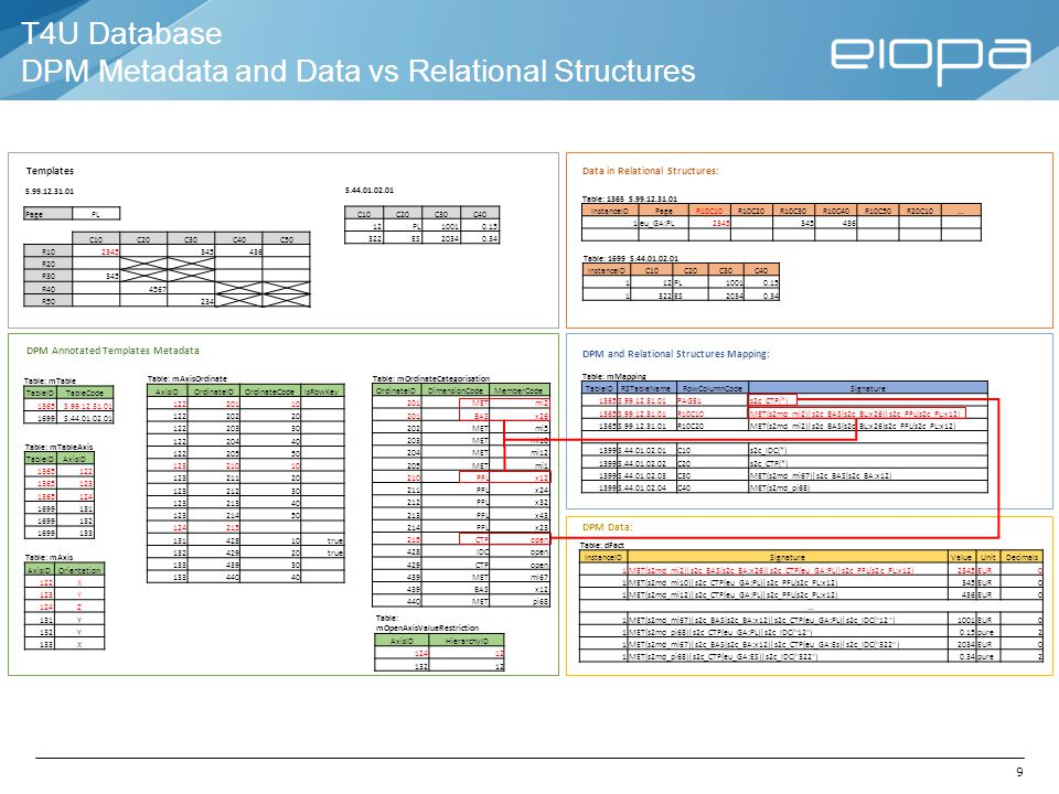 T4U Database DPM Metadata and Data vs Relational Structures