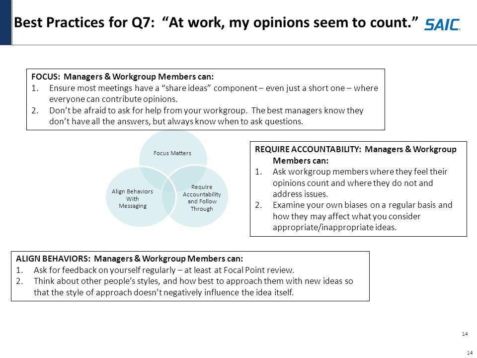 Best Practices for Q7: At work, my opinions seem to count.