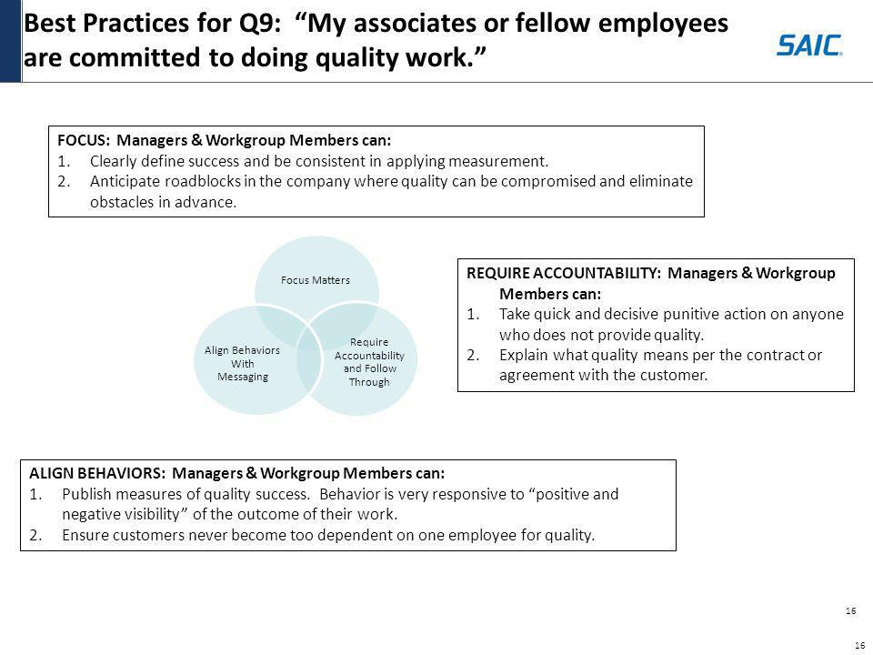 Best Practices for Q9: My associates or fellow employees