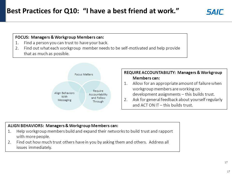 Best Practices for Q10: I have a best friend at work.