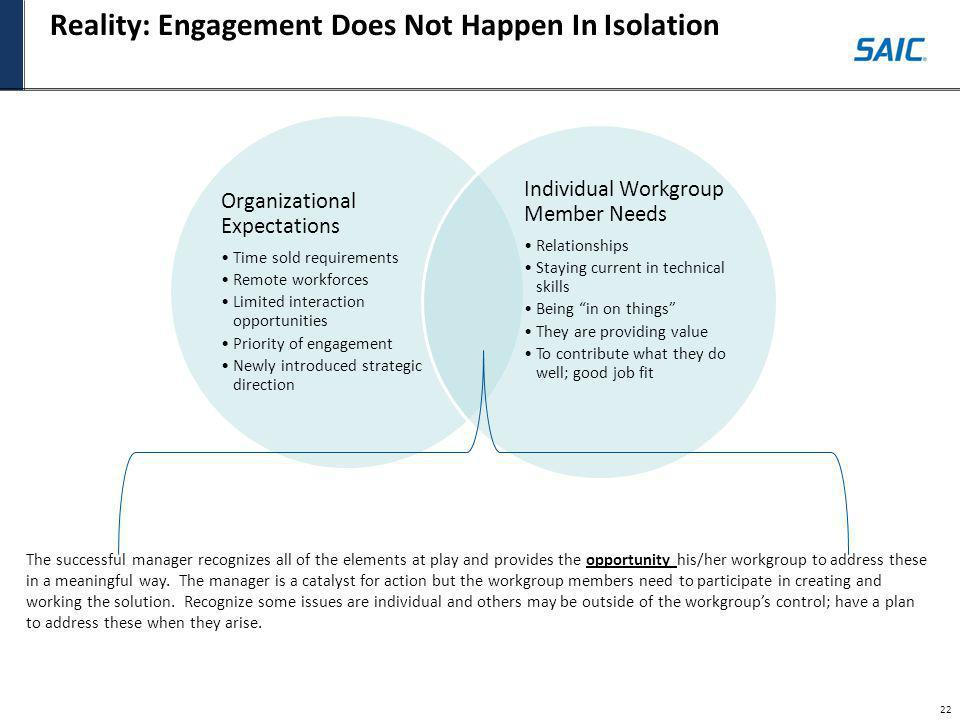 Reality: Engagement Does Not Happen In Isolation