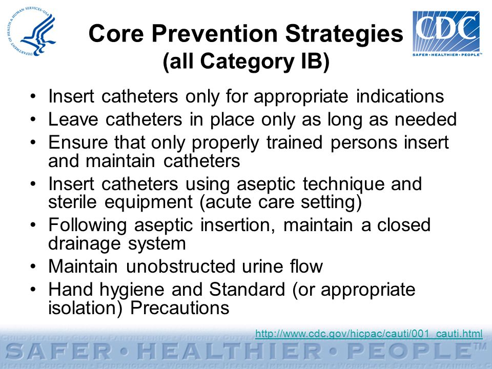 Core Prevention Strategies (all Category IB)