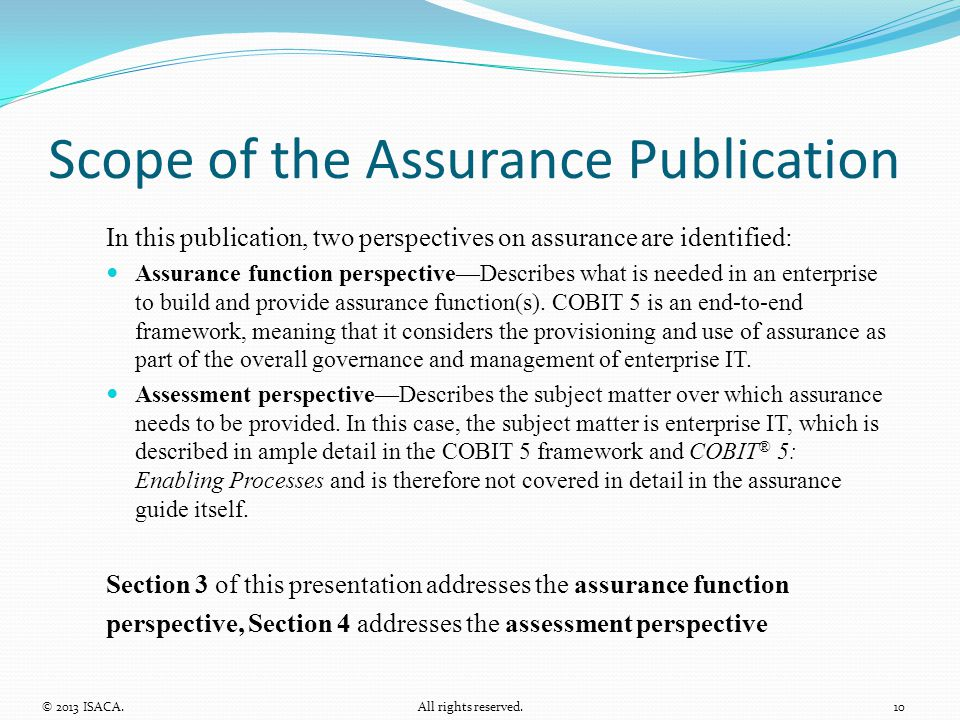 Scope of the Assurance Publication