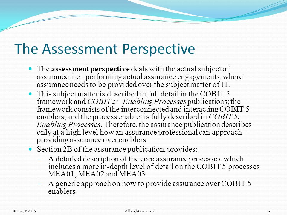 The Assessment Perspective