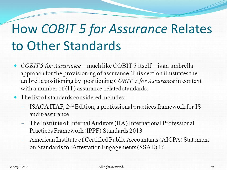 How COBIT 5 for Assurance Relates to Other Standards