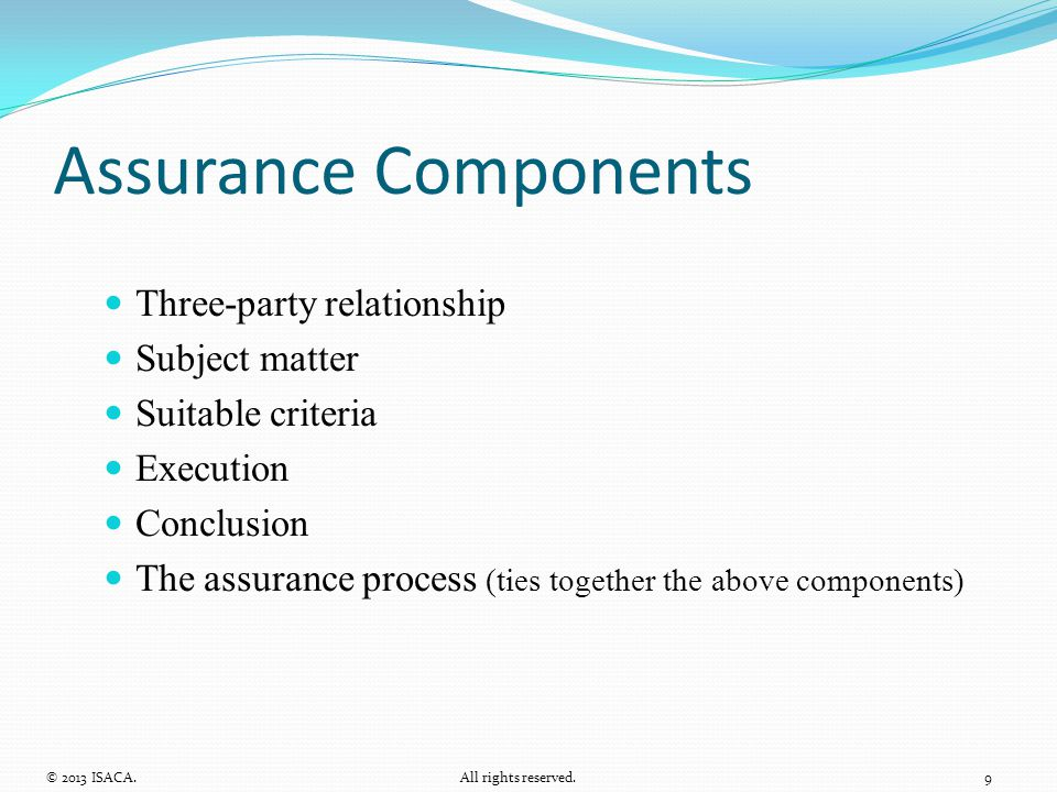 Assurance Components Three-party relationship Subject matter