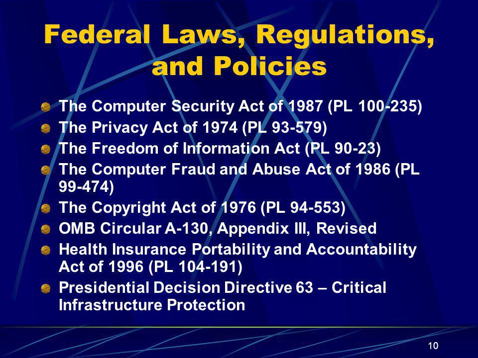 Federal Laws, Regulations, and Policies