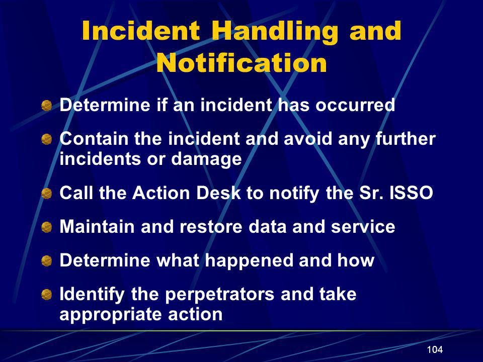Incident Handling and Notification