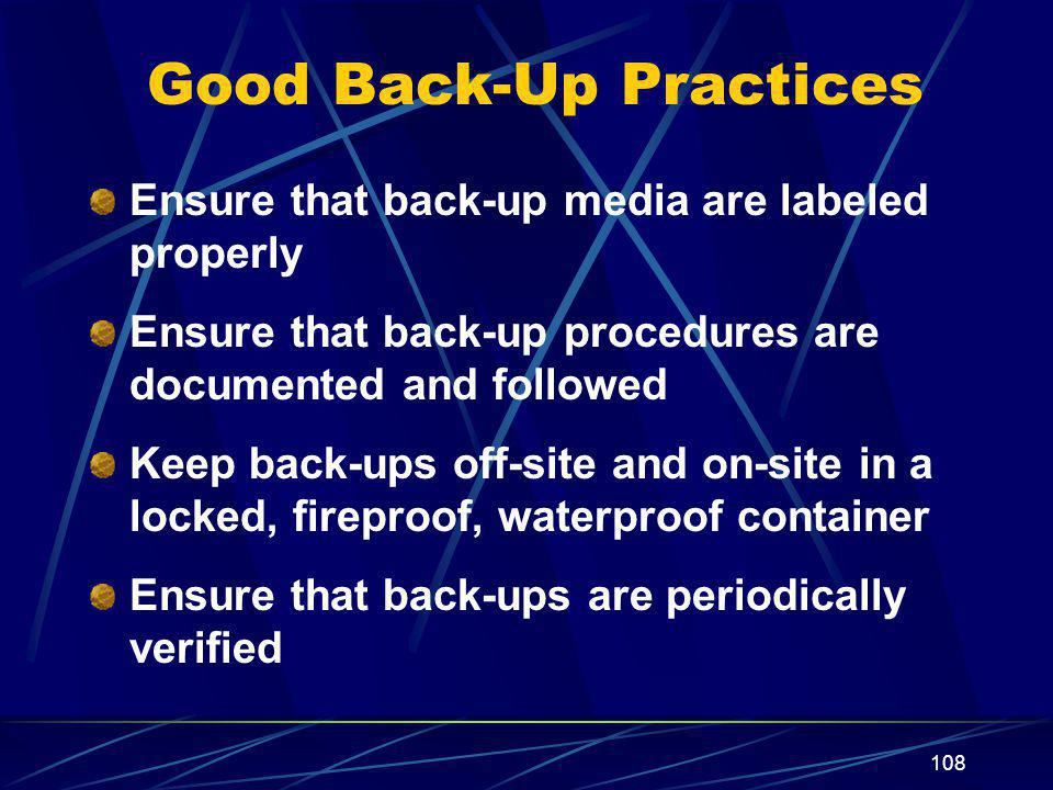 Good Back-Up Practices