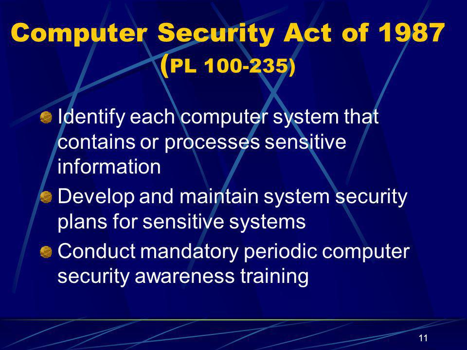 Computer Security Act of 1987 (PL 100-235)