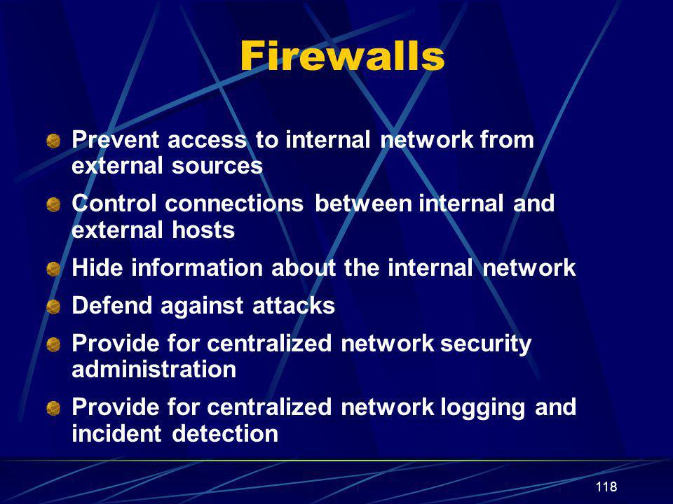 Firewalls Prevent access to internal network from external sources