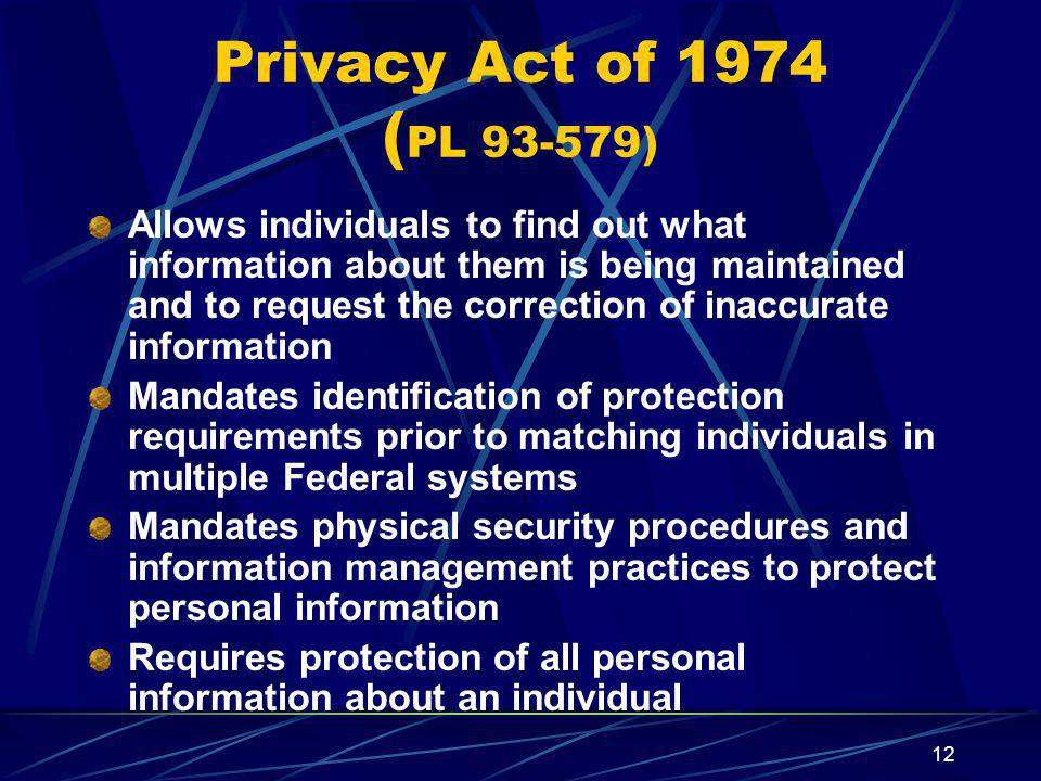 Privacy Act of 1974 (PL 93-579)