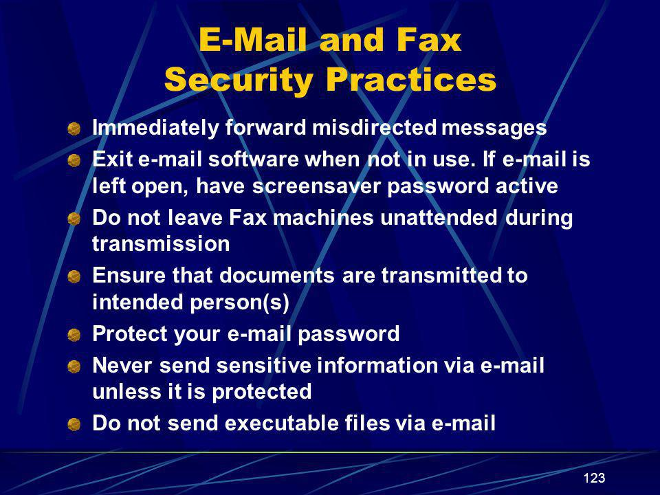 E-Mail and Fax Security Practices
