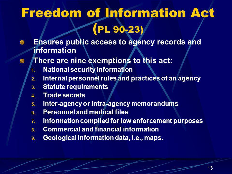 Freedom of Information Act (PL 90-23)
