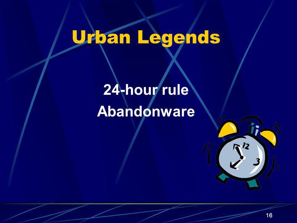 Urban Legends 24-hour rule Abandonware