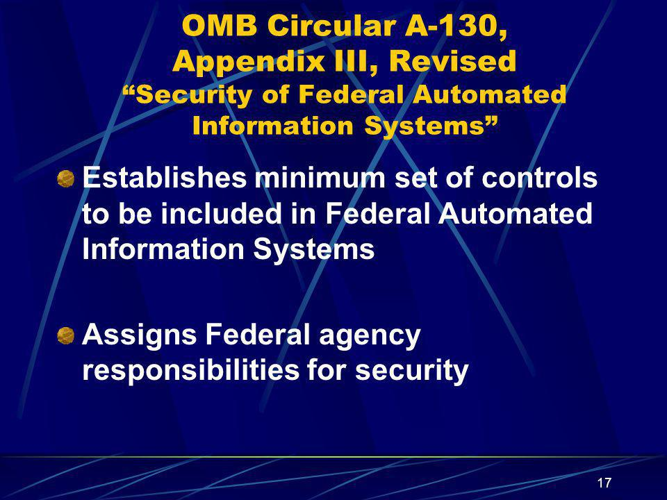 OMB Circular A-130, Appendix III, Revised Security of Federal Automated Information Systems