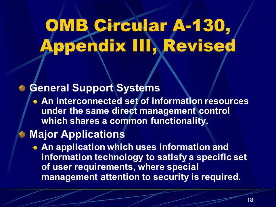 OMB Circular A-130, Appendix III, Revised