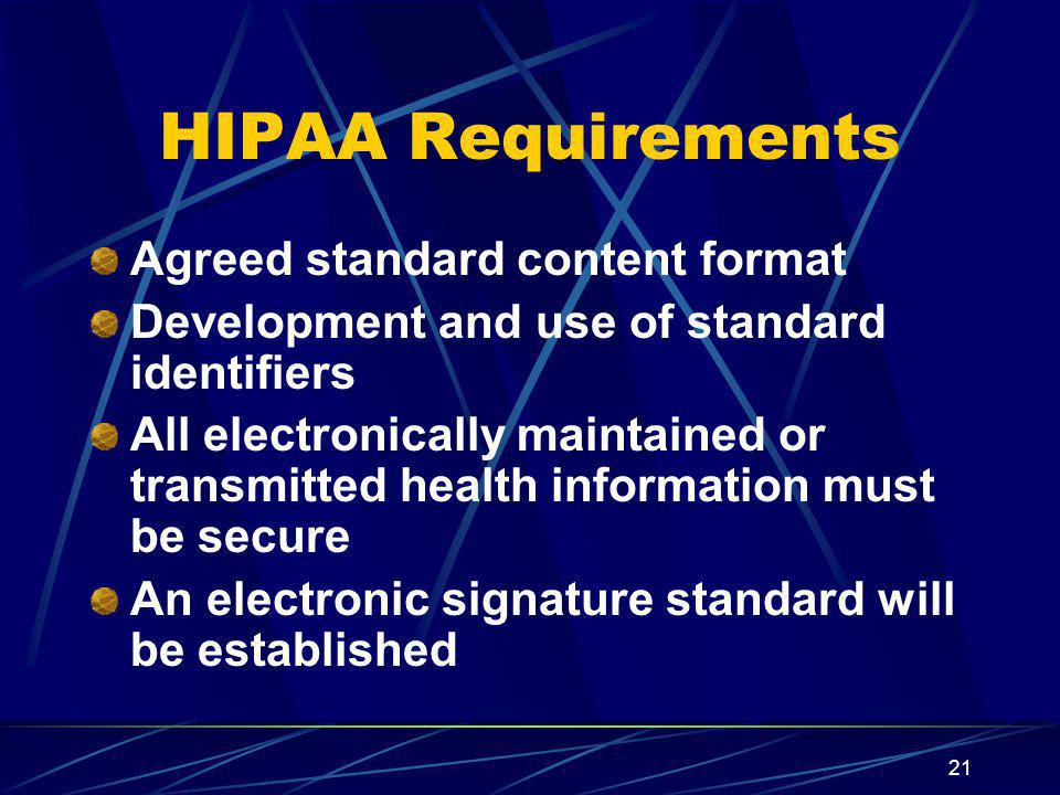 HIPAA Requirements Agreed standard content format