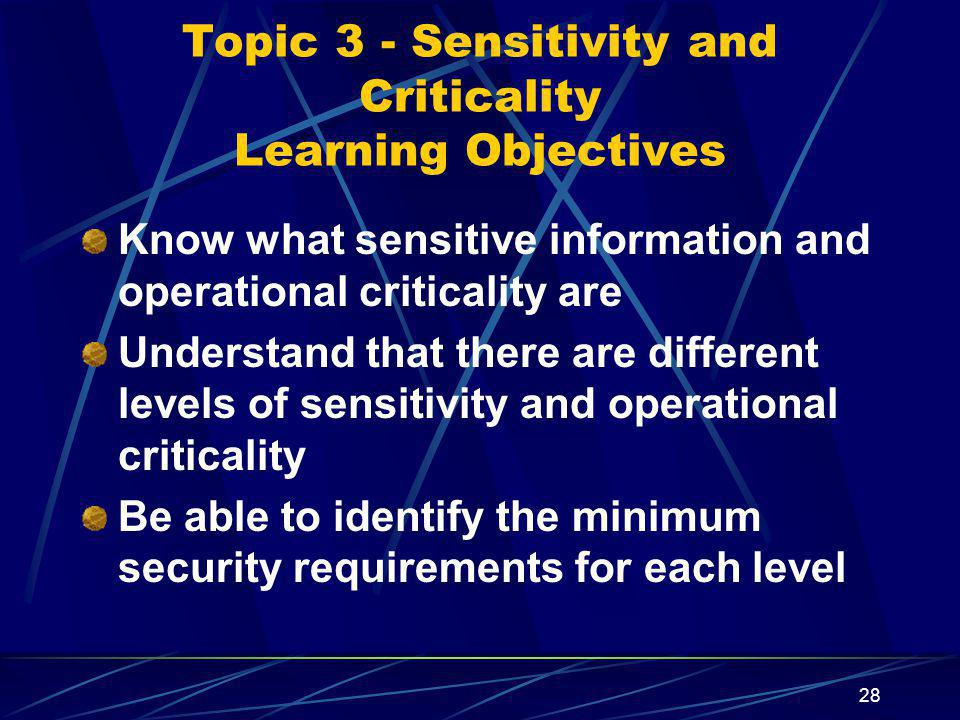 Topic 3 - Sensitivity and Criticality Learning Objectives