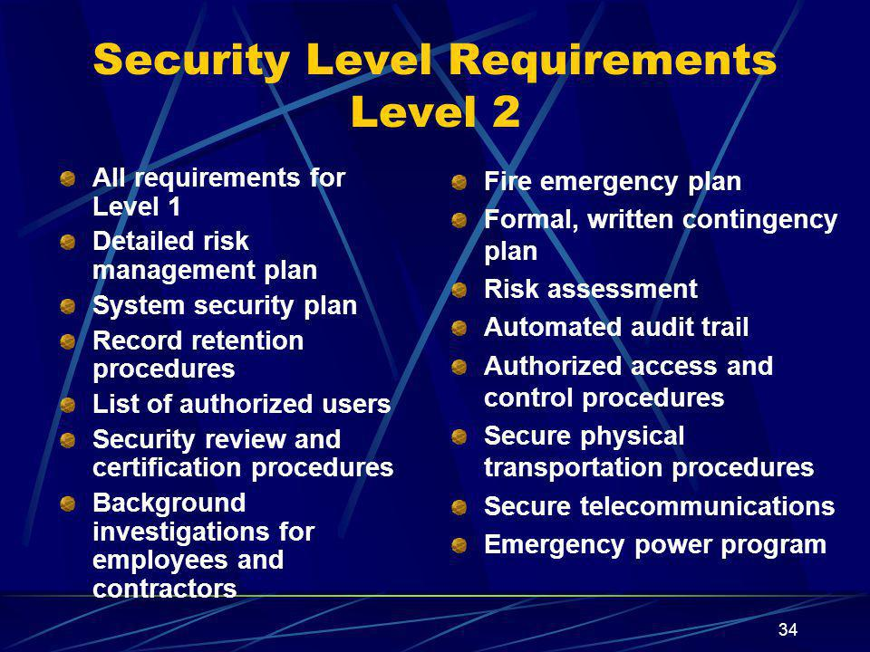 Security Level Requirements Level 2
