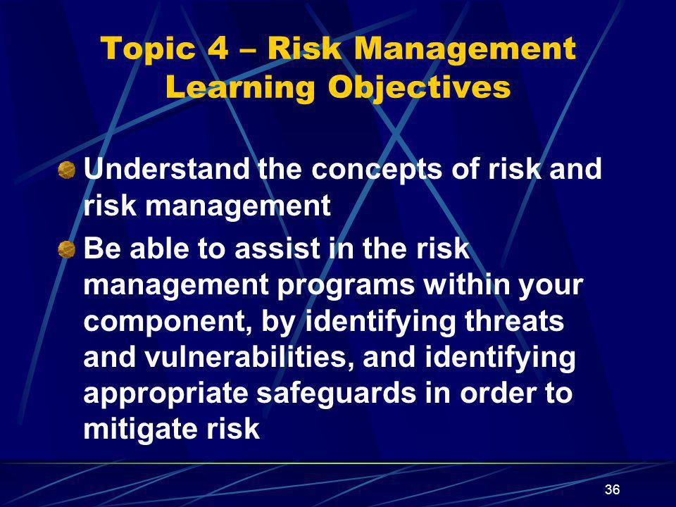 Topic 4 – Risk Management Learning Objectives