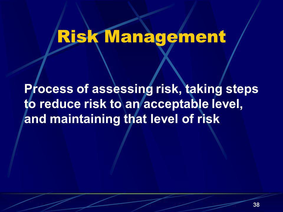 Risk Management Process of assessing risk, taking steps to reduce risk to an acceptable level, and maintaining that level of risk.