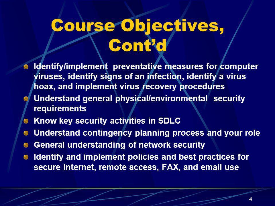 Course Objectives, Cont'd