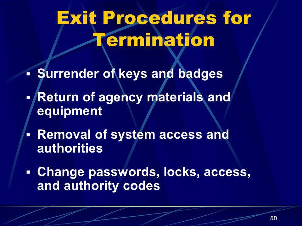 Exit Procedures for Termination