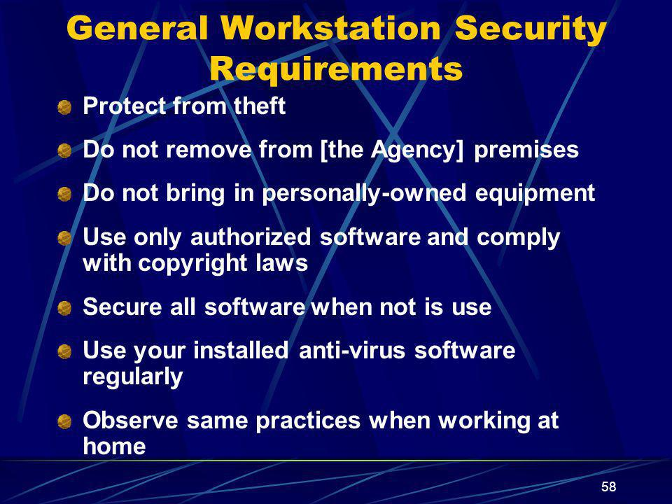 General Workstation Security Requirements