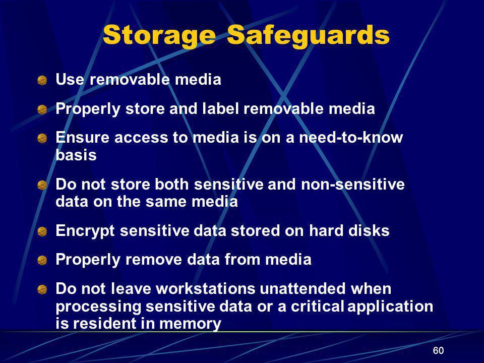 Storage Safeguards Use removable media
