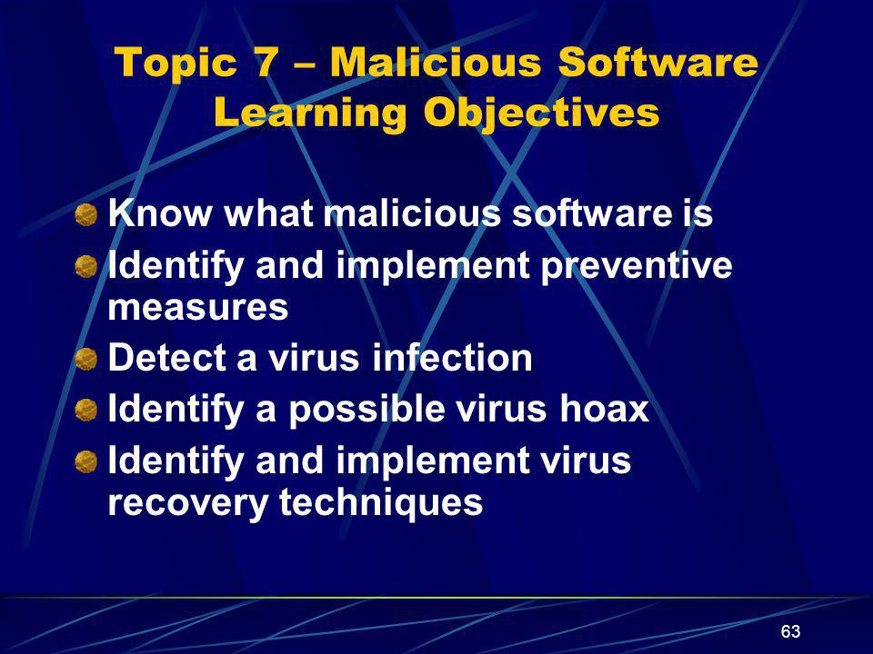 Topic 7 – Malicious Software Learning Objectives