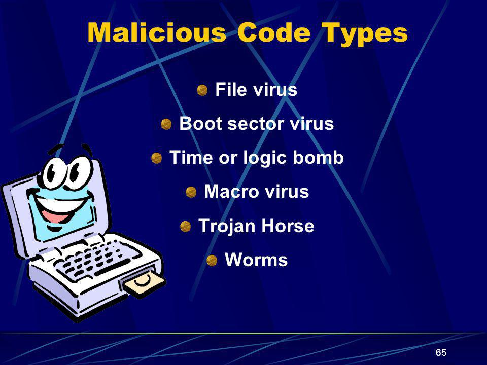Malicious Code Types File virus Boot sector virus Time or logic bomb