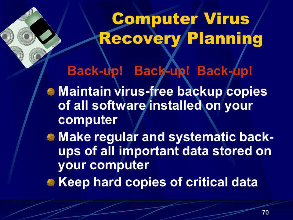 Computer Virus Recovery Planning