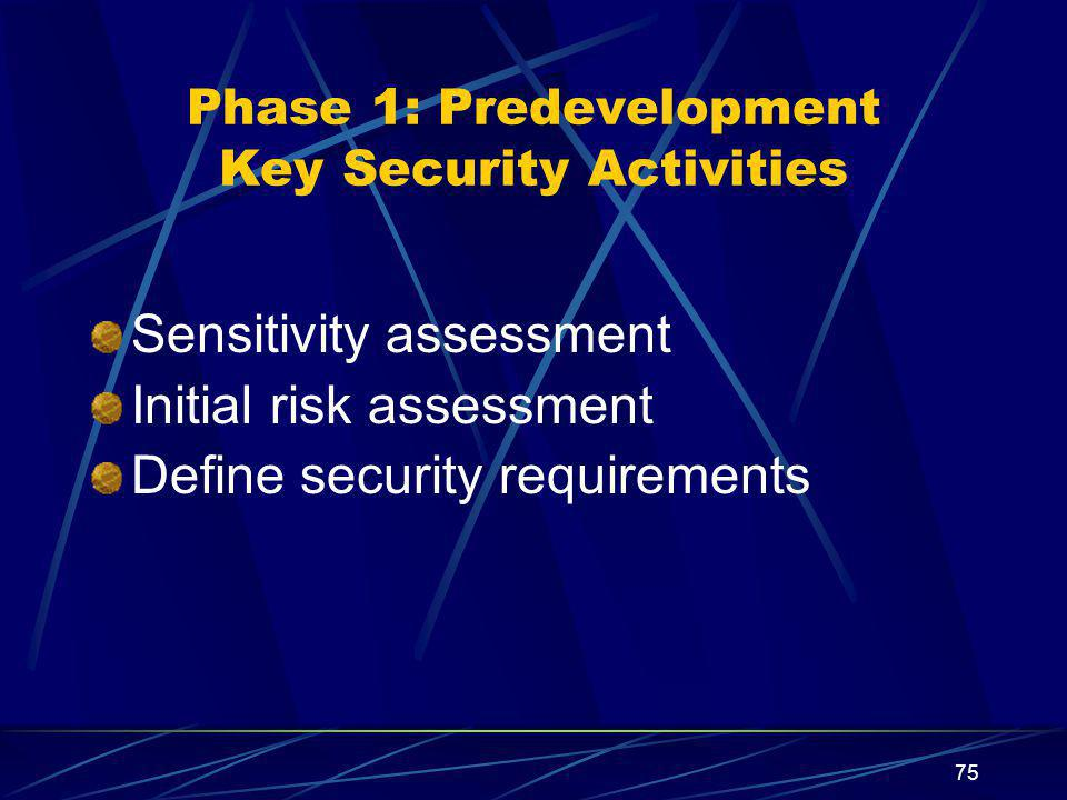 Phase 1: Predevelopment Key Security Activities