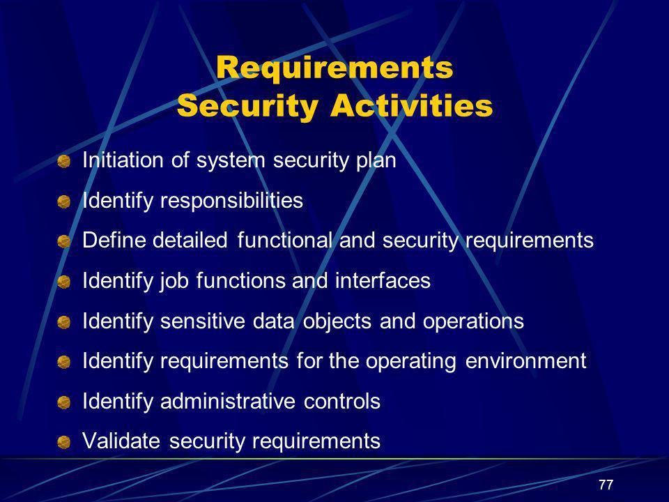 Requirements Security Activities