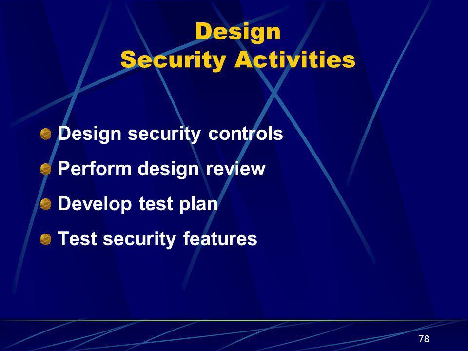 Design Security Activities