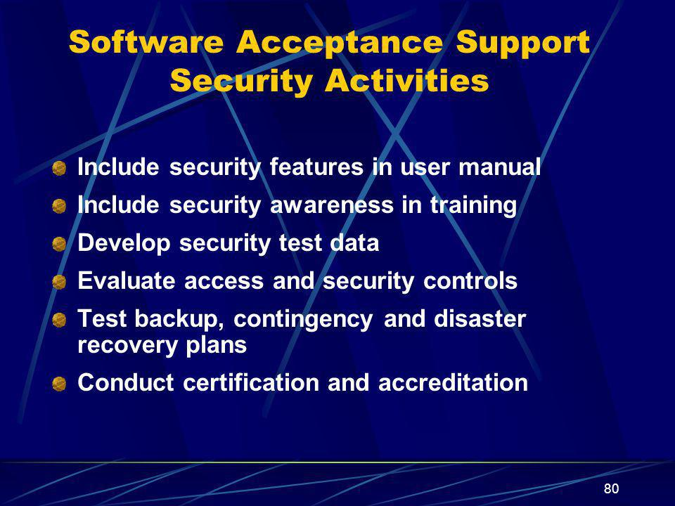 Software Acceptance Support Security Activities