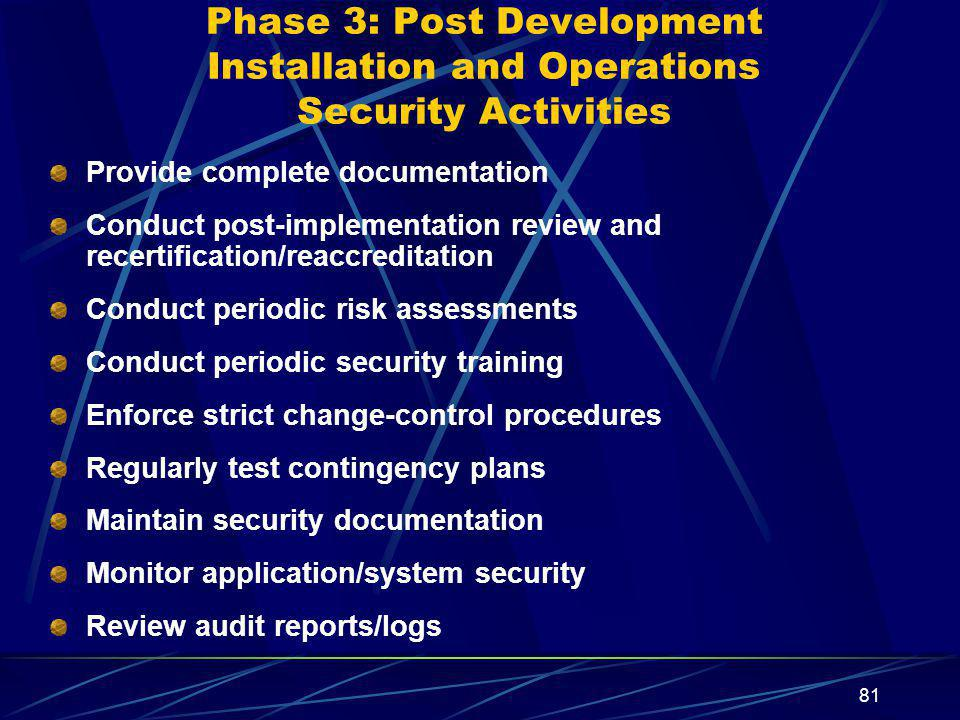 Phase 3: Post Development Installation and Operations Security Activities