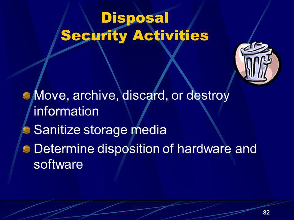 Disposal Security Activities