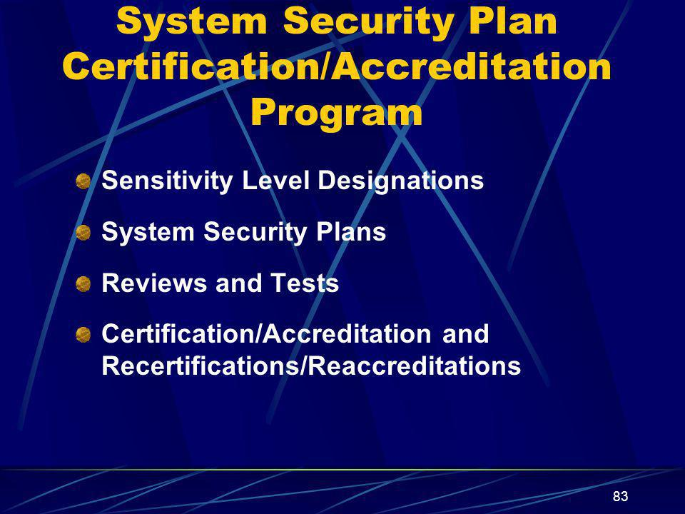 System Security Plan Certification/Accreditation Program