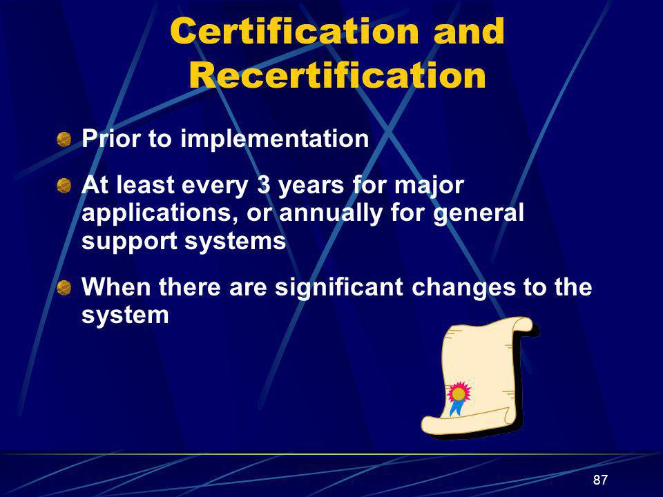 Certification and Recertification