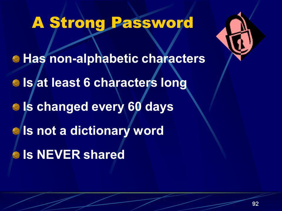 A Strong Password Has non-alphabetic characters