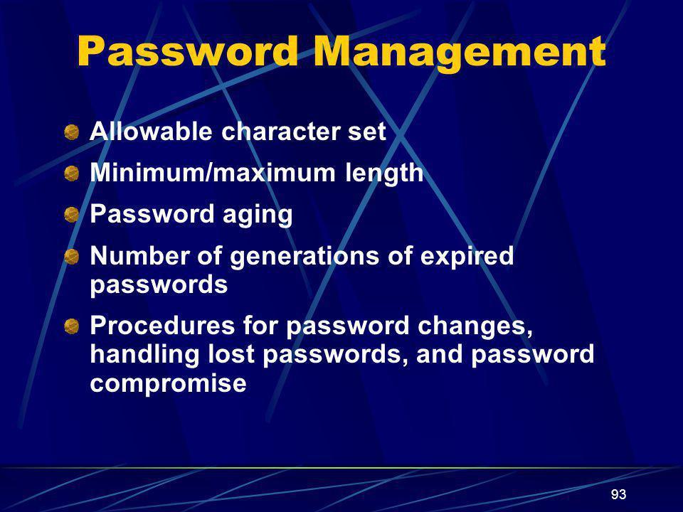 Password Management Allowable character set Minimum/maximum length