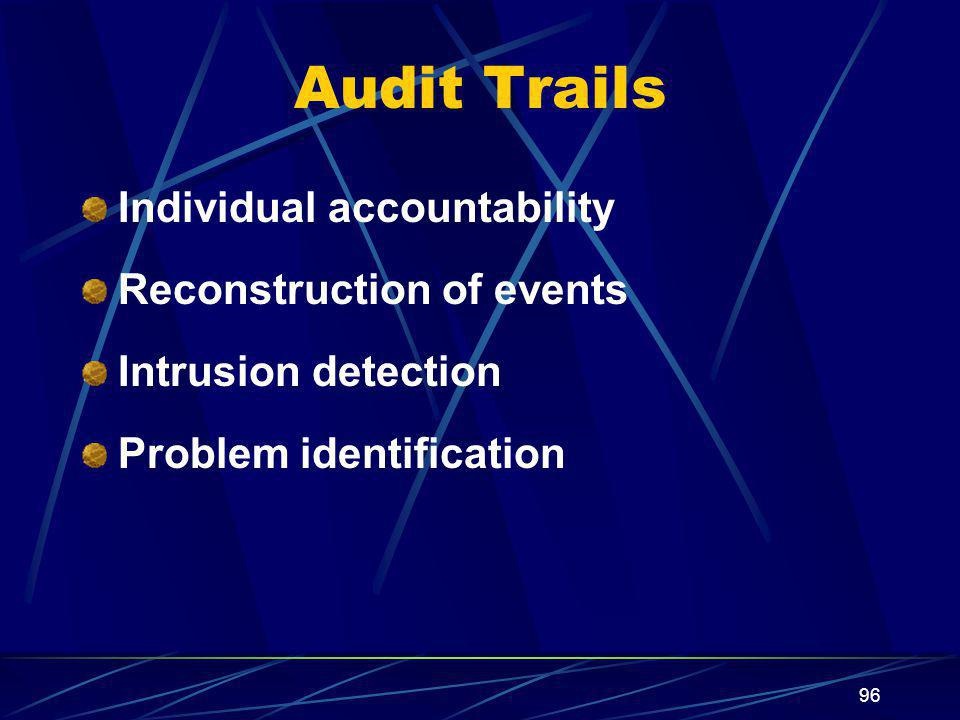 Audit Trails Individual accountability Reconstruction of events