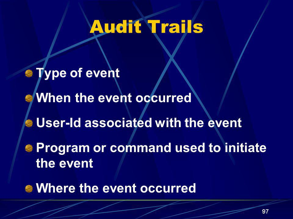 Audit Trails Type of event When the event occurred