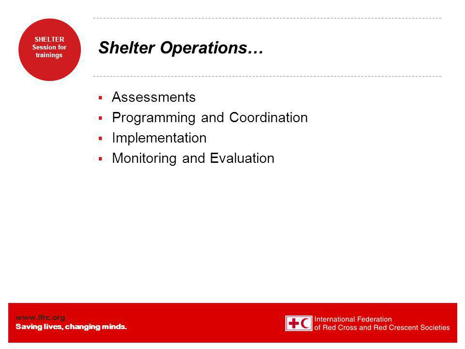 Shelter Operations… Assessments Programming and Coordination