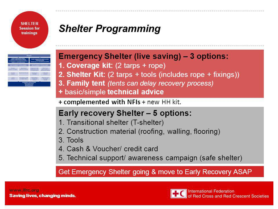 Shelter Programming Emergency Shelter (live saving) – 3 options: