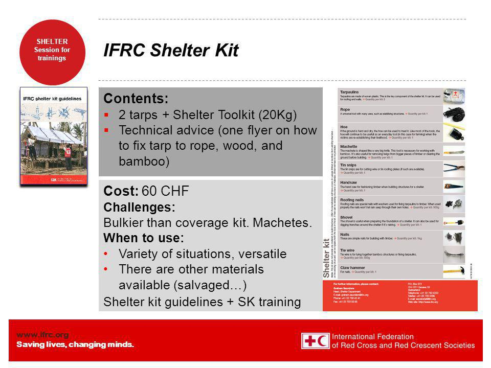 IFRC Shelter Kit Contents: Cost: 60 CHF