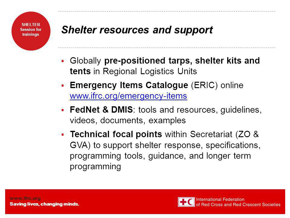 Shelter resources and support